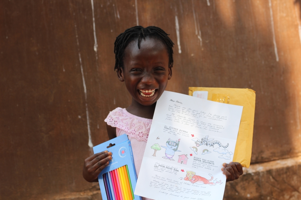 Doris with letter from Alex, her sponsor