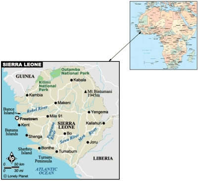 Sierra Leone Map - in Africa