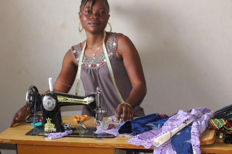 ladies learning tailoring at Develop Africa training institute