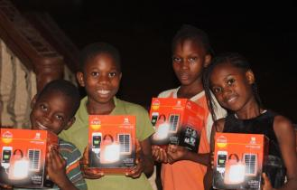 Kids with their solar lights